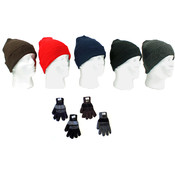 Cuffed Winter Knit Hats and Knit Gloves Combo Pack