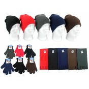 Adult Beanie Knit Hats, Magic Gloves, and Solid Sc