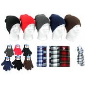Winter Beanie Hats, Gloves & Checkered Scarves