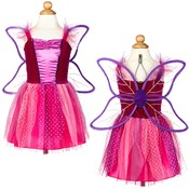 Girl's Plum Fairy Dress with Attached Wings
