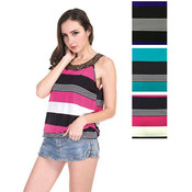 Women's Sleeveless Tops - Striped Prints