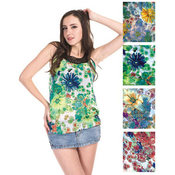 Women's Sleeveless Tops - Colored Floral Prints