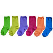 Toddler's Novelty Crew Socks - Solid Neon Colors - Size 2-4