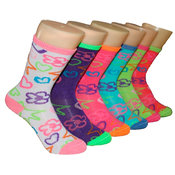 Children's Crew Socks - Flower Star - 3-Pack - Size 4-6