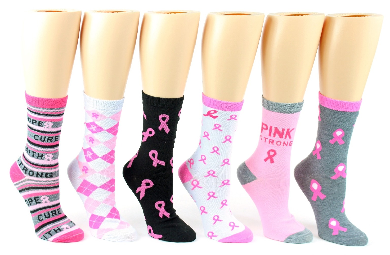 Wholesale Pink Breast Cancer Awareness Crew Socks Size 9