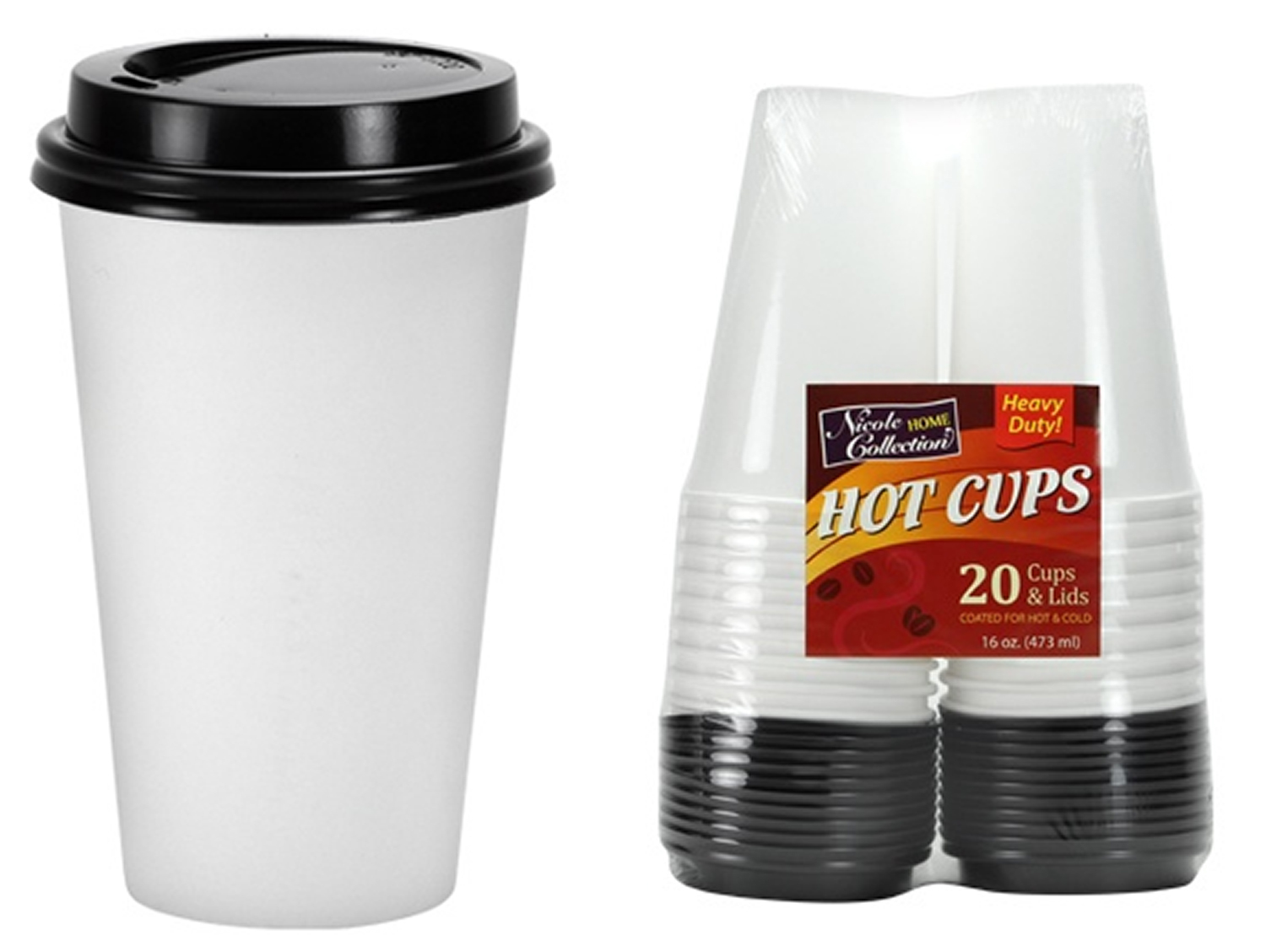 home collection wholesale 16 oz white cups with lid 20 packs 10269