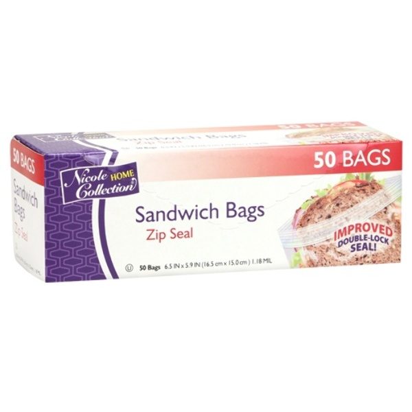 home collection wholesale sandwich zip seal bags 50 packs 10269