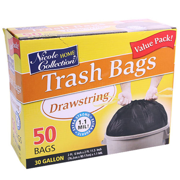 home collection wholesale 30 gallon drawstring trash bags 50 packs 10269