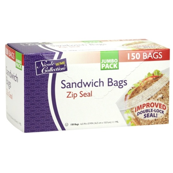 home collection wholesale sandwich zip seal bags 150 packs 10269