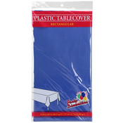 "54"" X 108"" Rectangular Plastic Tablecloth - Blue"
