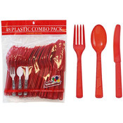 Red Plastic Cutlery 48 Piece Sets