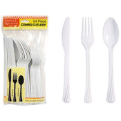 Pearl Plastic Cutlery 24 Piece Sets