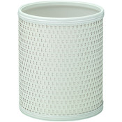 Chelsea Pattern White Wicker Round Wastebaskets