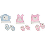 Baby Coral Fleece Animal Hat & Bootie Set - Size 0-6M