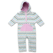 Rugged Bear Infant Girls' Zig Zag Hooded Coverall