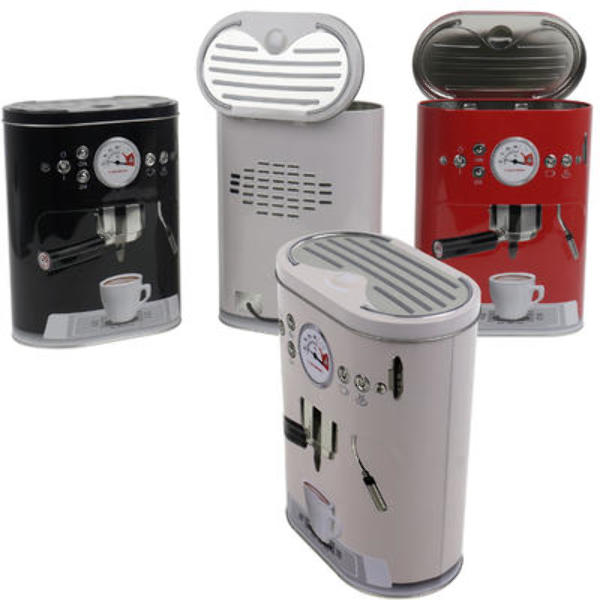 Wholesale 8.75-Inch Coffee Machine Tin Can - Assorted(24x$4.30) Sold in lots of 24 @ $4.30 each. 8.75-inch Coffee Machine Tin Can is perfect for storing dry foods and grains. Color: Black, Red, White Dimensions: 8.75  X 6.75  X 4  Assortment May Vary