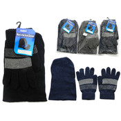 Men's Hat & Gloves Set - 3 Assorted Colors