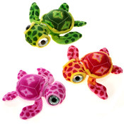 "7"" 3 Asst. Big Eye Turtles - Green, Pink"