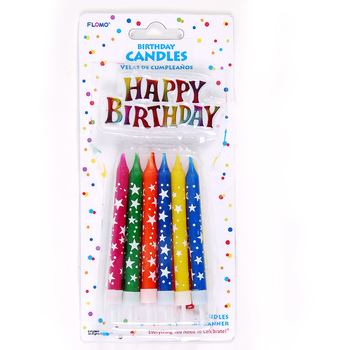 Birthday Candles With Holders And Happy Cake Banner