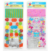 All Occasion Cello Bags with Metallic Twist Ties - 20 count
