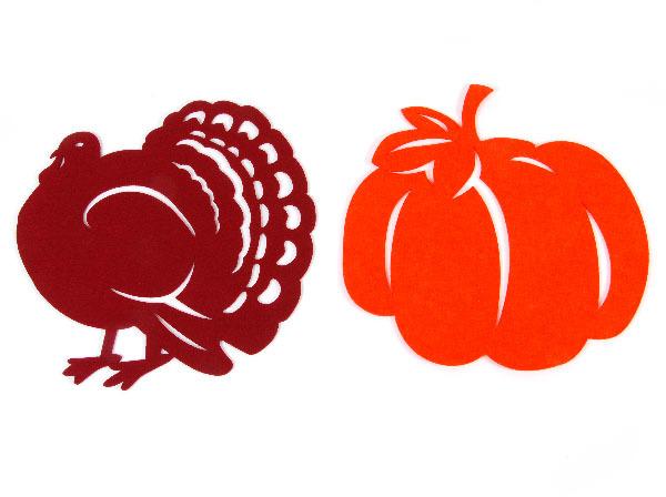 Wholesale Harvest Shaped Turkey And Pumpkin Felt Placemats
