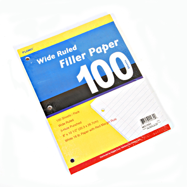 Wholesale Filler Paper - College Ruled 100 Sheets