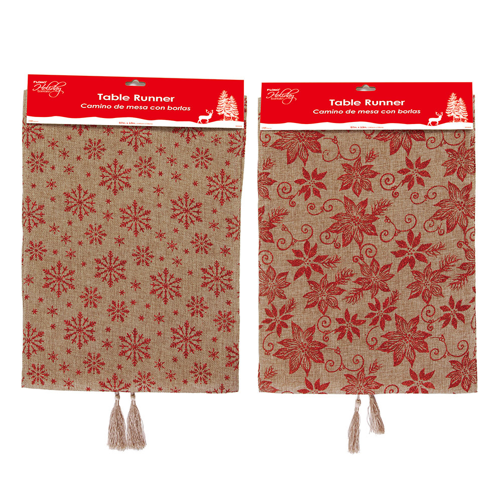 Poinsettia and Snowflake Burlap Table Runners