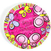 "Hot Pink Butterfly Printed Plates (9"" round)"
