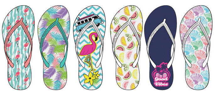 3cd350279171d Wholesale Women s Assorted Tropical Print Flip Flops (SKU 2288564)  DollarDays