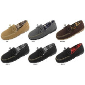 Men's Microsuede Moccasin Slippers with Plaid Fleece Lining