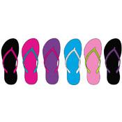 Womens Basic Contrast Color Flip Flops