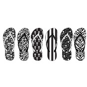 Ladies Black & White Printed Flip Flops Shoes