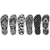 Women's Black And White Printed Flip Flops