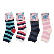 Women's Stripe Fuzzy Crew Socks