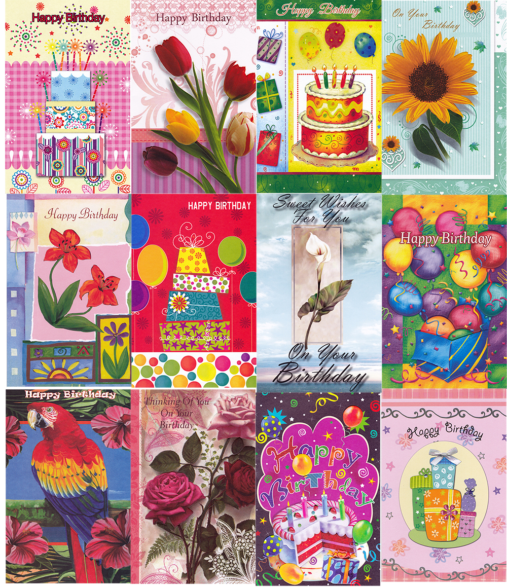 wholesale birthday cards assorted  288 pack sku 2342193