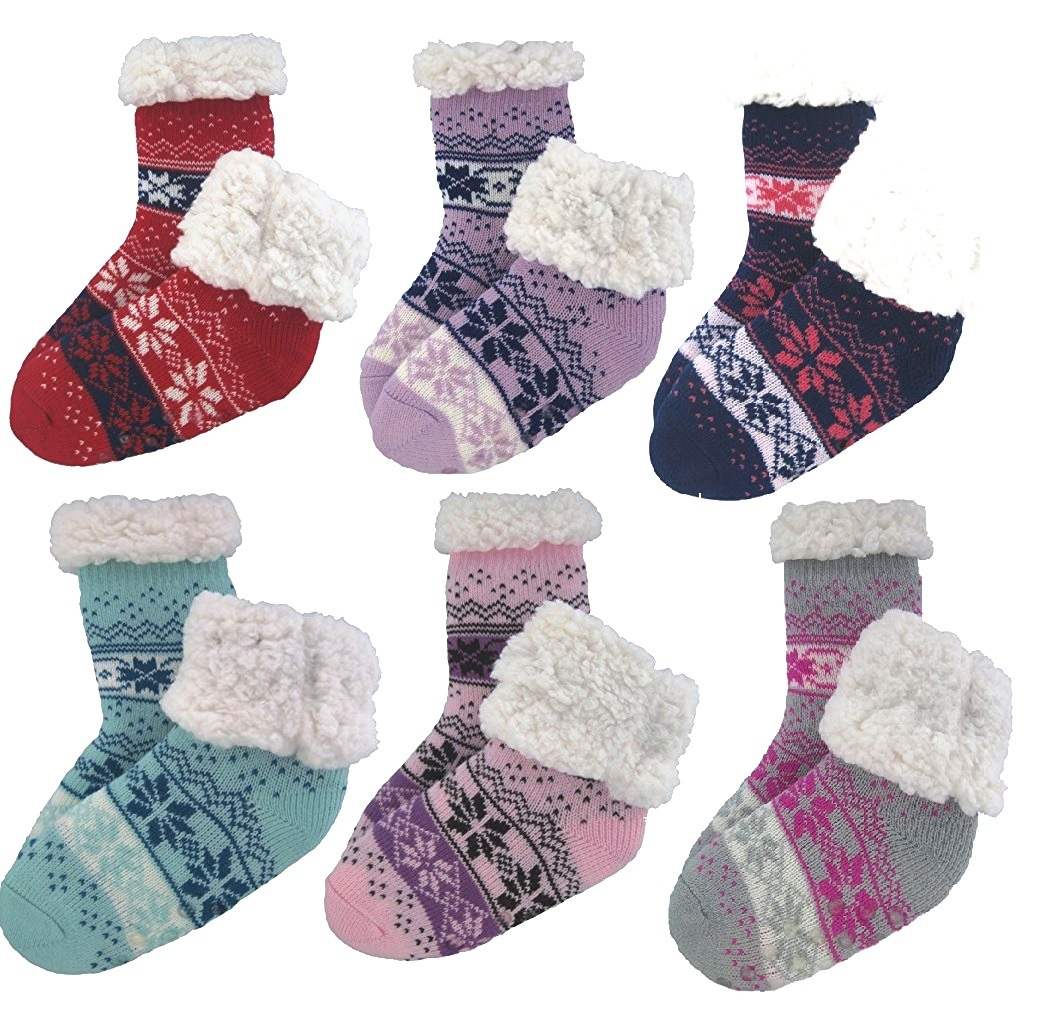Wholesale J Ann Kids Sherpa Lined Crew Socks With Non