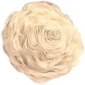 Ruffled Rose Decorative Pillow Throw - Champagne