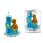 Baby Blocks with Teddy Bear Candle - Blue