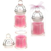 Glass Baby Bottle Scented Candle - Pink