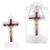 Jesus on Cross Candle - Gold