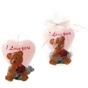 Brown Bear Holding a Bouquet of Roses in Front of a Heart Candle