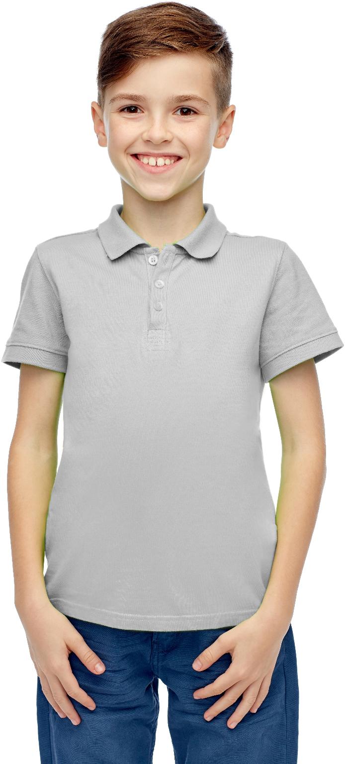 Wholesale Boys Heather Grey Short Sleeve Polo Shirt Size