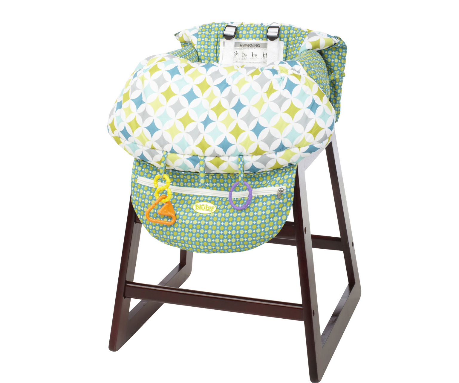 Wholesale Nuby 2-In-1 Shopping Cart and High Chair Cover(8x$24.10) Sold in lots of 8 @ $24.10 each. Helps keep child secure, comfortable and germ free Completely covers cart and high chair seat Use it for shopping cart seats, high chairs, car seats, your stroller or even your lap. The Cover catches food crumbs or dropped toys, and of course it can be easily wiped down and washed. Easy to install, simply pull the cover out of the integrated attached carry bag, shake it out and lay it into the seat. Buckle Up and You're Done! The integrated storage pouch doubles as a way to store the cart cover when not in use, and becomes a convenient pocket while shopping.