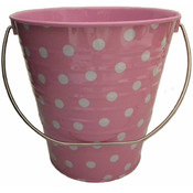 "Metal Bucket - Pink with Dots (4.3 x 4.3"")"