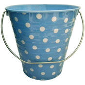 "Metal Bucket - Light Blue with Dots (4.3 x 4.3"")"