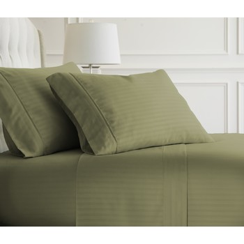 Soft Essentials Premium Embossed Striped Design 3 Piece Bed Sheet Set (Twin    Sage)