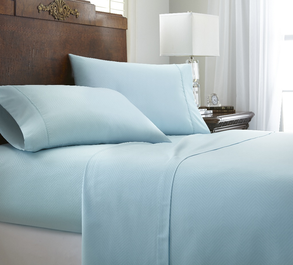 Wholesale Soft Essentials Premium Embossed Chevron Design 3 Piece Bed Sheet Set Twin Aqua