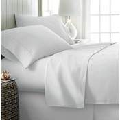 Soft Essentials Premium Double Brushed 4 Piece Sheet Set (Queen - White)