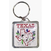 Texas Keychain Lucite State Map