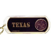 Texas Keychain Lucite Lucky Penny